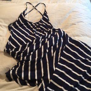 Medium navy and white full length dress